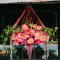 Rosegold peony wedding flower chandelier