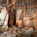 Country chic wedding decor at indoor rustic barn