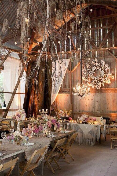 Country chic indoor wedding decor the white sparrow barn country chic wedding decor at indoor rustic barn junglespirit Choice Image