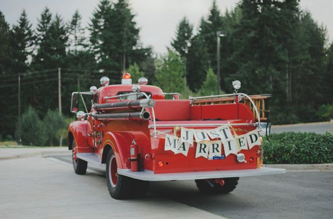 """Red fire engine """"Just Married"""" wedding exit via Green Wedding Shoes"""