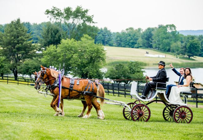 Horse drawn carriage wedding exit via The Knot