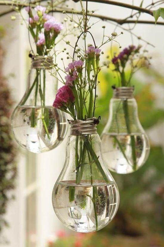 DIY Light bulb flower vases
