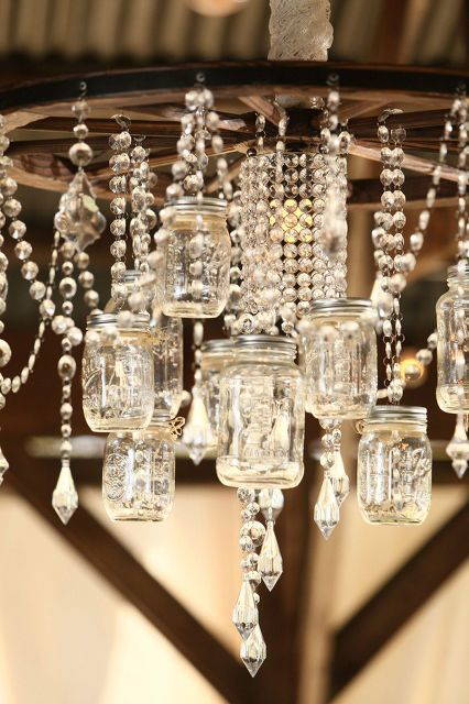 Mason jar chandelier at country chic wedding