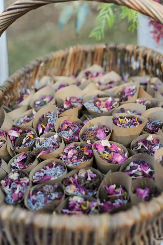 Dried purple flower petals wedding send off by The Domestic Lady Blog