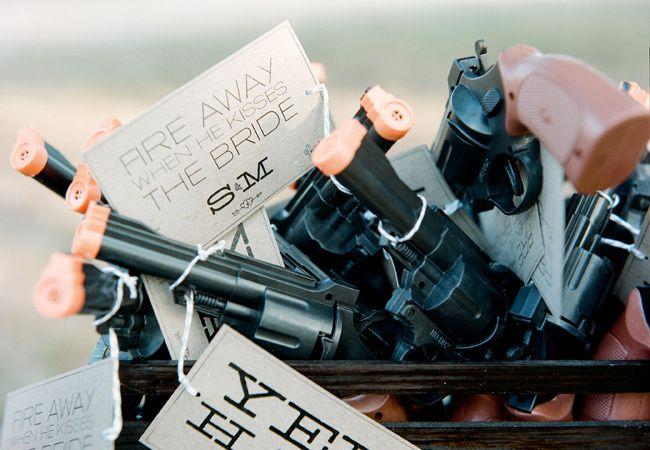 Toy gun wedding send off via The Knot