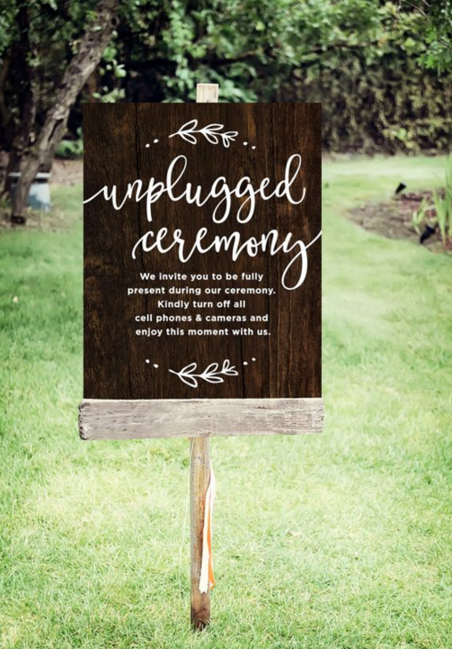 unplugged sign for wedding ceremony